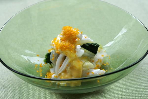 いかとセロリの柑橘黄味ソース和え